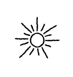 Sun icon isolated over white background doodle vector