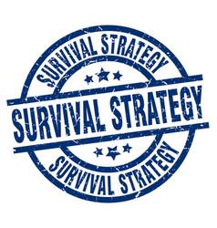 Survival strategy blue round grunge stamp vector
