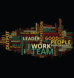 The accidental leader text background word cloud vector