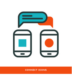thin lines connection phone icons outline of big vector image