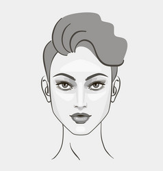 Woman girl hairstyle portrait black and white vector