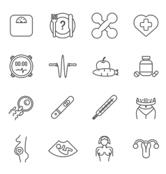 Womans health line icons set vector