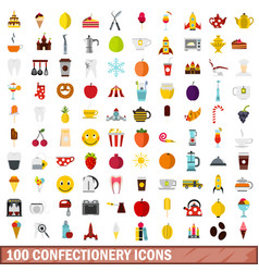 100 confectionery icons set flat style vector
