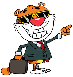 Appy tiger pointing towards success vector