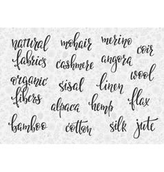 Natural fibers types lettering set vector