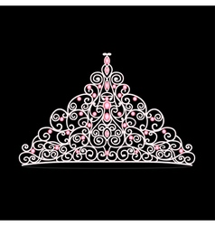 womens tiara crown wedding with pink stones vector image