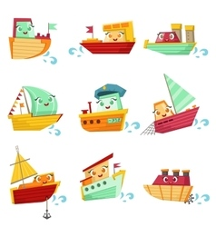 Toy boats with faces colorful set vector
