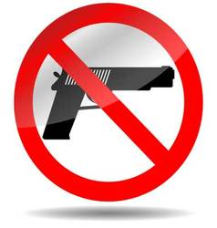 Ban of weapons pistol vector
