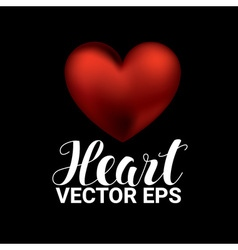 Love romantic 3D Realistic Red Hearts on black vector image
