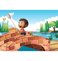 A boy holding a net catching a butterfly vector image