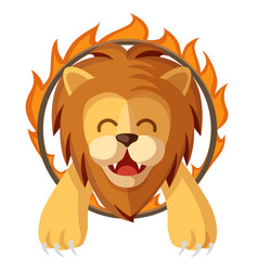 Trained lion jumping through the fire ring vector