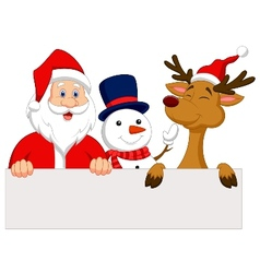 Cartoon santa claus reindeer and snowman with bla vector