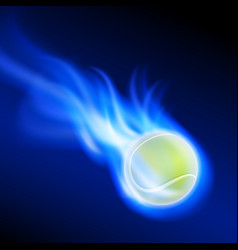 Burning tennis ball on blue fire vector