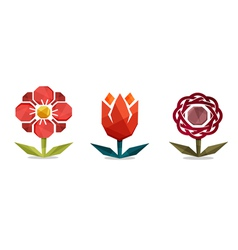 Geometric flowers vector