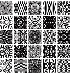 Set of 25 black and white geometric seamless vector