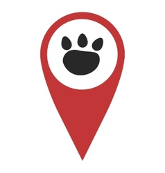 Red geo pin with paw vector