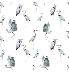 Watercolor heron pattern vector