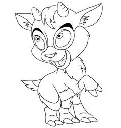 Cute cartoon little goat vector