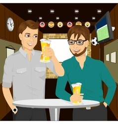 Two cheerful young men talking to each other vector
