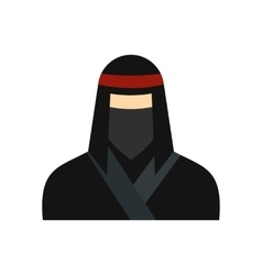 Female ninja in a black mask flat icon vector