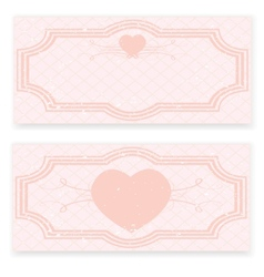 Retro wedding invitation in pink colors vector