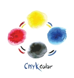 Cmyk watercolorhand painting vector