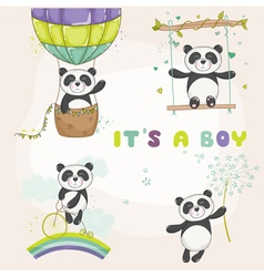 Baby panda set - baby shower or arrival card vector