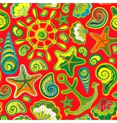 Seashell seamless pattern - vector