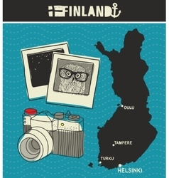 Map of finland and retro photos vector
