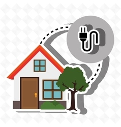 Smart home with electric plug isolated icon vector