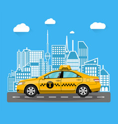 Abstract urban cityscape with taxi cab vector