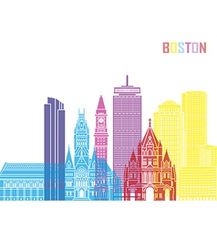 Boston V2 skyline pop vector image