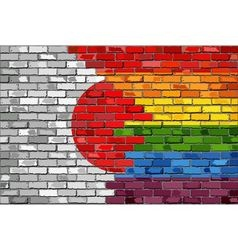 Brick wall japan and gay flags vector