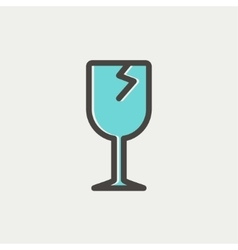 Broken glass wine thin line icon vector image