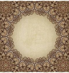 Brown frame floral ornament old background vector