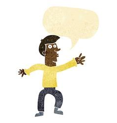 Cartoon reaching man with speech bubble vector