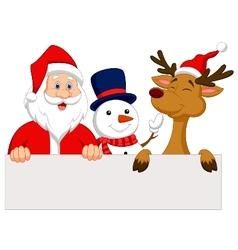 Cartoon Santa Claus reindeer and snowman with bla vector image vector image