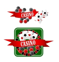Casino icons with dice chips cards and roulette vector