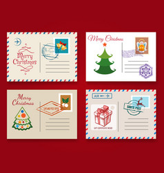 christmas postcard template set vector image vector image