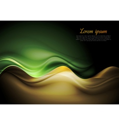 Dark orange and green waves template vector image vector image