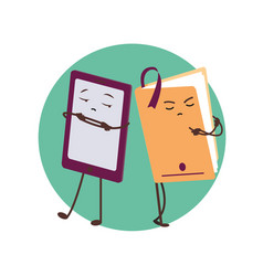 e-book and paper book funny characters vector image