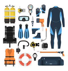 Equipment for scuba diving in a flat style vector