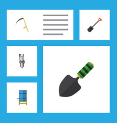 Flat icon dacha set of trowel pump container and vector