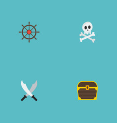 flat icons cranium chest ship steering wheel and vector image vector image