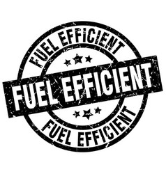 Fuel efficient round grunge black stamp vector