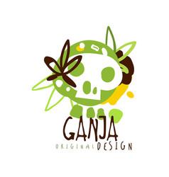 ganja label original design logo graphic template vector image