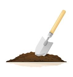 Hand shovel in ground vector