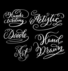 Hand writing hand written typography vector