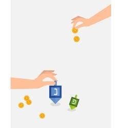 Hanukkah game hand spining dreidel holding coins vector