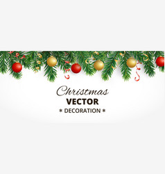 horizontal christmas banner with fir tree garland vector image vector image